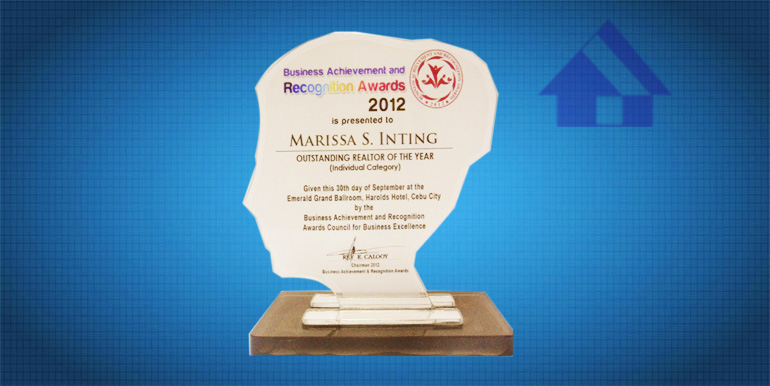 Business Achievement and Recognition Award 2012 Outstanding Realtor of the Year (Individual Category)