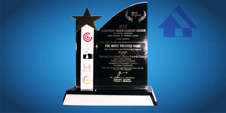 Consumers Choice Category Awards for Business Excellence 2012 The Most Trusted Name Real Estate Sales and Marketing Company Cebu Category2