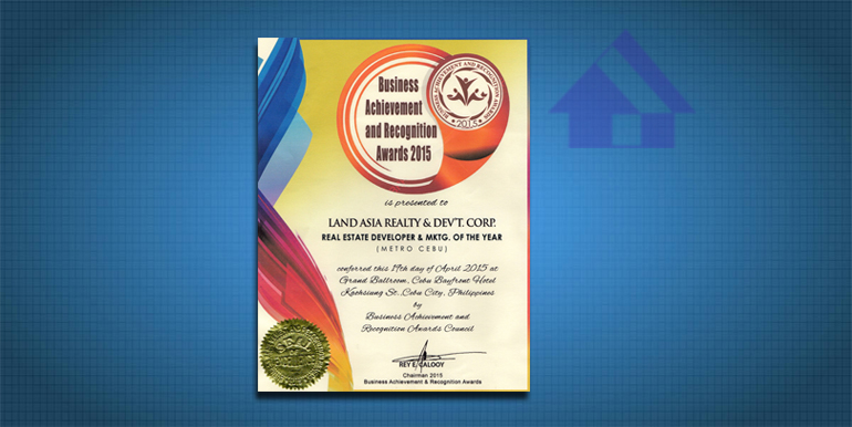 Land Asia Real Estate Developer and Marketing of the year certificate