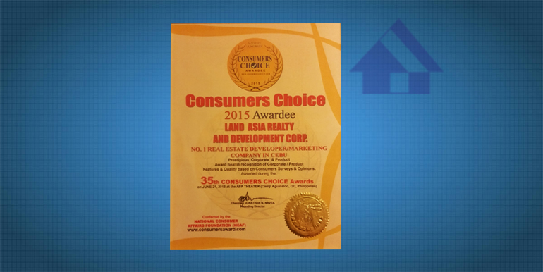 35th Consumer Choice Gold Seal of Quality 2015 certificate